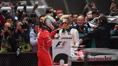 Lewis Hamilton (GBR) Mercedes AMG F1 and Sebastian Vettel (GER) Ferrari in parc ferme at Formula One World Championship, Rd2, Chinese Grand Prix, Race, Shanghai, China, Sunday 9 April 2017. © Sutton Motorsport Images