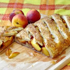 "Shortcut Summer Peach Strudel -- uses puff pastry.  Lots of fresh summer fruit?  Try it!  """"A quick and easy summer dessert can take only minutes to prepare with some store-bought puff pastry on hand. Perfect for when summer fruits are at their best and time is in short supply. What a fantastic take along to a sunny day cookout or picnic too."""