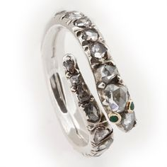 Fine Georgian Diamond-Set Snake Ring | From a unique collection of vintage engagement rings at https://www.1stdibs.com/jewelry/rings/engagement-rings/