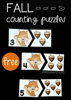These adorable fall counting puzzles- are here to help students work on counting from A great way for preschool and kindergarten kids to work on number recognition! Fall Preschool Activities, Counting Activities, Preschool Learning, Kindergarten Math, Fun Learning, Teaching, Math Games, Preschool Halloween, Montessori