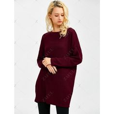 Skew Neck Long Sleeve Jumper (39 BAM) via Polyvore featuring tops, sweaters, jumpers sweaters, purple long sleeve top, long sleeve sweater, long sleeve jumper and purple sweater