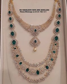 Stunning gold necklace and long haaram studded with diamonds and emeralds.Visit for latest designs of IGI certified finest quality Diamond jewellery. Contact no 8125 782 16 December 2018 Jewelry Design Earrings, Gold Jewellery Design, Antique Jewellery, Diamond Jewellery, Gold Jewelry, Jewellery Box, Jewellery Shops, Necklace Designs, India Jewelry