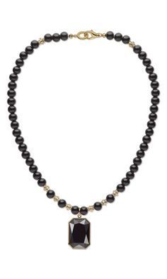 Jewelry Design - Single-Strand Necklace with Swarovski Crystal, Black Onyx Gemstone Beads and Gold-Finished Beads - Fire Mountain Gems and Beads