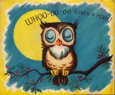 Vintage Greeting Card Owl Moon Moveable Card O870