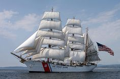 The U.S.C.G. Eagle is a 21, 350 square foot sailing Barque with three masts. She is the only commissioned sailing ship in the U.S. maritime service that is still active. She is also one of five of such Training Barques in the entire world. The other four include: MIRCEA of Romania, SAGRES II of Portugal, GORCH FOCK of Germany, and TOVARICH of Russia.