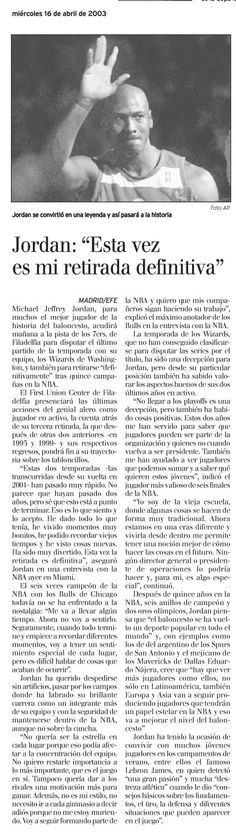 Despedida de Michael Jordan del Basketball. Publicado el 16 de abril de 2003.
