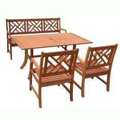 VIFAH V187SET1 Outdoor Wood 4-Piece Dining Set, Natural Wood Finish, 59 by 36 by 29-Inch by VIFAH. $985.95. 2 armchairs and 1 5-foot bench. FSC High Density Eucalyptus (Shorea) is harvested from protected forests. FSC High Density Eucalyptus (Shorea) is mold, mildew, fungi, termites, rot and decay resistant. FSC High Density Eucalyptus (Shorea) is pre-treated, expertly kiln-dried, extremely durable for outdoor/indoor use. Atlantic rectangular table. Design: Entertai...