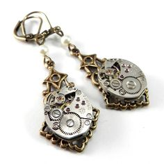 Steampunk Earrings - Clockwork Lace - Ivory Pearl Accent