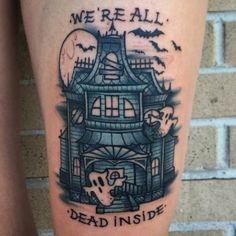 Love this lil #hauntedhouse tattoo by @antwalsh_art  #halloweenvibes #halloweentattoo #ghosttattoo #halloweeneveryday