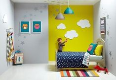 146 Wall Painting and Decoration Ideas for Kids Bedroom Kids Bedroom Wall Painting And Decoration Idea 80 Baby Decor, Kids Decor, Yellow Playroom, Kids Bedroom Paint, Bedroom Boys, Deco Kids, Toddler Rooms, Kids Room Design, Kid Spaces