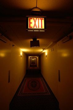 Final Exit by anticide Photo Portrait, Wall Lights, Ceiling Lights, Hotel California, The Shining, Neon Lighting, City Lights, Abandoned Places, Scenery