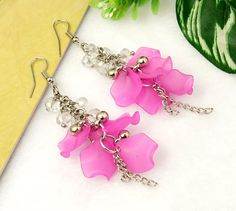 Handmade Acrylic Earrings, Pink