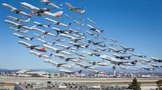 Aviation fan Mike Kelley compiled the departures over the course of a day at the Los Angeles International Airport (LAX) in a single photograph Epic Photos, Cool Photos, Plane Photos, Amazing Photos, Amazing Art, Photomontage, Photo Avion, Time Lapse Photo, Montage Photo