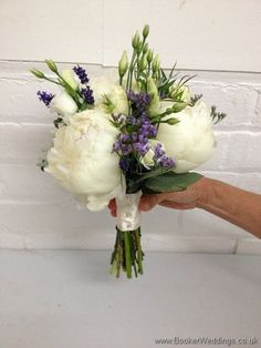 Just Picked English Country Garden Bridesmaid Bouquet with Peonies, Lissianthus, Spray Roses, and Lavender Side View. September Wedding Flowers, Purple Wedding Flowers, White Flowers, Bride Bouquets, Bridesmaid Bouquets, Flower Bouquets, White Spray Roses, English Country Weddings, Rose Corsage