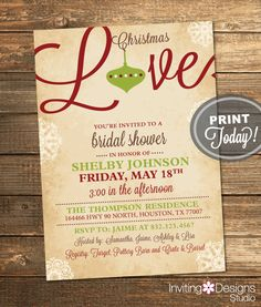 Christmas Bridal Shower, Bridal Shower Invitation, Red, Green, Holiday, Ornament Shower, Rustic, Printable File (Custom INSTANT DOWNLOAD) by InvitingDesignStudio on Etsy