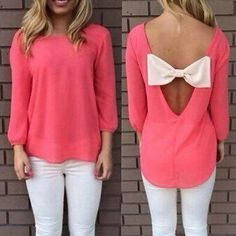 Sexy Scoop Neck Open Back Bowknot Embellished Chiffon Blouse For Women Blouses Love Fashion, Girl Fashion, Fashion Outfits, Womens Fashion, Emo Fashion, Pretty Outfits, Cute Outfits, Pret A Porter Feminin, Dress To Impress