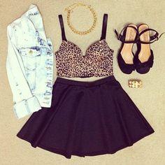 Cheetah bra top with a high waist skirt