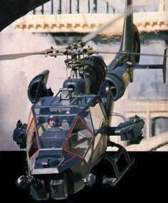 Blue Thunder, precursor to Airwolf, vehicular RoboCop, and the second leg of MacGyver's flight from his Griffith Obersvatory home to the KIVA underground laboratory in Bannon, New Mexico. Film Blue, Military Helicopter, Military Aircraft, Helicopter Plane, Gi Joe, Game Design, Armada, Military Weapons, War Machine