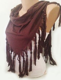ON SALE  Brown  Scarf  Jersey Scarf  Bead Scarf  Fringe by MaxiJoy, $17.00