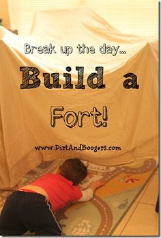 Break up the day and reconnect with your kids by building a fort. Some good fort making tips here. From Snelson Snelson:: Dirt and Boogers Rainy Day Activities, Craft Activities For Kids, Educational Activities, Summer Activities, Toddler Activities, Craft Ideas, Diy For Kids, Cool Kids, Build A Fort