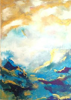 Sooooo lovely color mix! Sea scene painting on canvas, abstract art wall painting from Fiona Mares, artist & painter from Egypt. New XXL painting 2018, 140 cm x 100 cm. Golden effects with sea, waves, clouds, sky. Storm over the sea. FionaMaresGallery@gmail.com