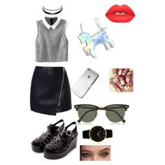 A fashion look from May 2015 featuring black and white crop top, zipper skirt and black jelly sandals. Browse and shop related looks. We Wear, How To Wear, Wearing Black, Wednesday, Stuff To Buy, Shopping, Collection, Shoes, Design