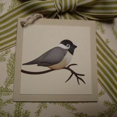 handmade tag with two-step bird punched  bird ... made to look like a chickadee .... pretty cute!!! Stampin' Up!