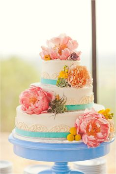 pink teal wedding cakes