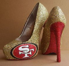 San Francisco 49ers Glittered High Heels by TattooedMary on Etsy, $120.00