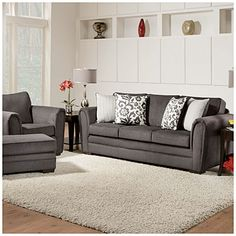 Simmons Flannel Charcoal Living Room Collection At