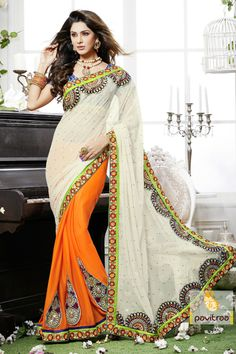 Pavitraa Designer orange and offwhite color saree crafted with Resham work saree more..