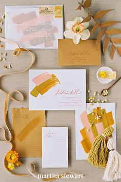 Fall-inspired stationery doesn't have to feel obvious. Let this more abstract fall design inform the direction you take with your invitations. For a Brannan Events wedding, The Brightline Studio was able to capture the essence of changing leaves and the varied colors with artful brush strokes. #weddingideas #wedding #marthstewartwedding #weddingplanning #weddingchecklist Fall Wedding Invitations, Wedding Menu, Wedding Stationary, Chic Wedding, Our Wedding, Wedding Planning, Invites, Autumn Inspiration, Wedding Inspiration