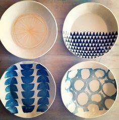 Porcelain Medium 4 Dish Set Screenprinted Design by mbartstudios