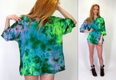 Vintage 90s Tie Dye Green Blue Yellow Pink Blue Hippie Tunic Top Rayon Oversized Boxy Festival Shirt Boho Gypsy Psychedelic Bohemian Blouse by BlueFridayVintage