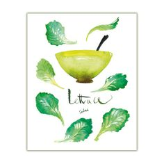 Lettuce watercolor painting, kitchen art print, food illustration vegetable poster, 8X10, Green decor, salad on Etsy, $30.00
