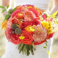 Orange and Coral Bridal Bouquet