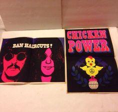 "2 Vintage Black Light Poster1968 Yoko,Lennon ""Ban Hairdays!"" ""Chicken POWER""RARE #Vintage Vintage Black, Vintage Art, Black Light Posters, Yoko, Chicken, Ebay, Cubs"
