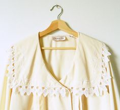 Buttercream Pastel Vintage Blouse / Lace Collar Spring Blouse / Pleated Statement Blouse in Pastel Yellow