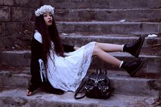 Lace Dress, Wildfox Couture Cardigan, Dr. Martens Boots, Thrift Store Spiked Leather Backpack, Diy Roses Crown