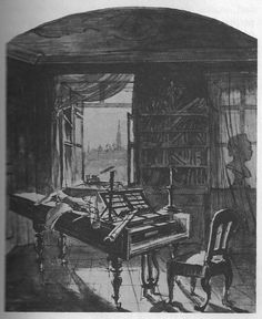 Pen and ink drawing of Beethoven's study in Vienna, a few days after his death