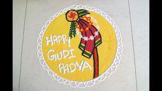 Gudi Padwa Rangoli Design || Happy Gudi Padva Rangoli || Rangoli Design Gudi Padwa Rangoli, Poster Rangoli, Rangoli Designs, Ganesh, Diwali, Maya, Folk Art, Happy, Beautiful