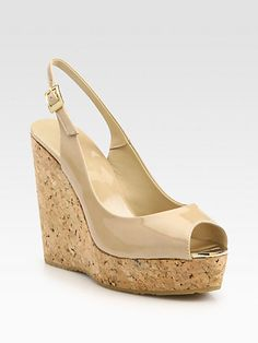 Shower Shoes - Jimmy Choo - Prova Patent Leather Cork Wedge Sandals - Saks.com