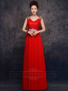 Beaded Straps Red Long Prom Dress 150601tb10