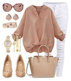 """""""White pants"""" by keila-87 on Polyvore featuring moda, Valentino, FOSSIL, Anne Klein e Tory Burch"""