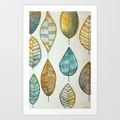 Rustic Leaves Art Print by lorimoro Leaf Art, Coasters, Stationery, Leaves, Rustic, Art Prints, Cards, Stuff To Buy, Products