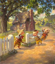 """Scott Gustafson Open Edition Fine Art Canvas Giclée:""""Three Little Pigs"""""""