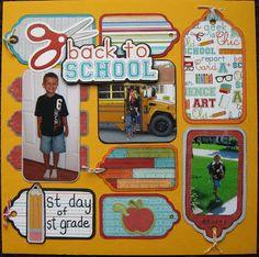 school scrapbook page School Scrapbook Layouts, Kids Scrapbook, Disney Scrapbook, Scrapbook Paper Crafts, Scrapbook Albums, Scrapbooking Layouts, Scrapbook Cards, Back To School, School Days