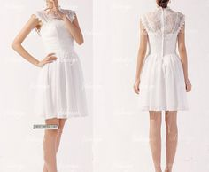 lace bridesmaid dress short bridesmaid dress white by fitdesign, $119.00