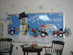 Use Buffalo Snow to make snowman. Faculty Door Decorating Contest Library Bulletin Board by awilliam701, via Flickr