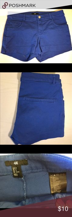 Royal Blue Shorts Royal blue shorts from H&M. Fake back pockets. 98% cotton, 2% elastane. H&M Shorts